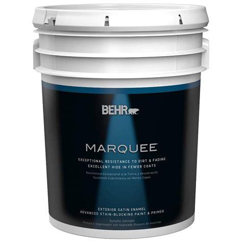 behr marquee 5 gal base satin enamel exterior paint