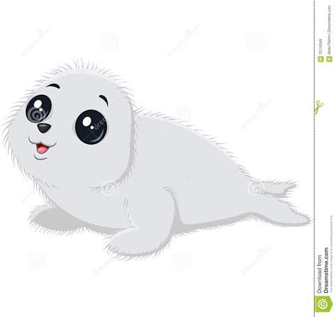 illustration  cartoon baby seal stock vector