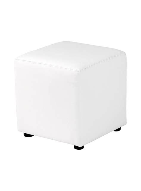 pouf carr 233 lounge en simili cuir 40 x 40 cm blanc