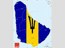 Flag Simple Map of Barbados, single color outside