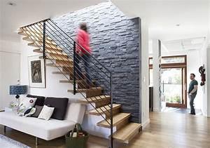 decoration mur escalier interieur With idee deco mur escalier