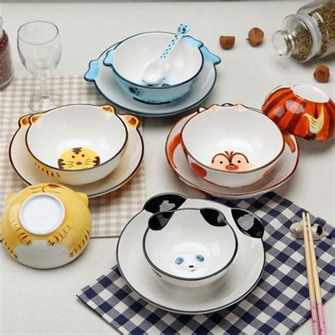 dinnerware ceramic bowl sets children cute animal plate creative tableware porcelain cartoon colorful bowls lot 4pcs rice handmade grade exquisite