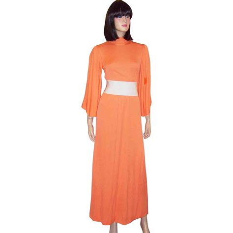 melon colored dress 1970 s knit melon colored maxi dress with