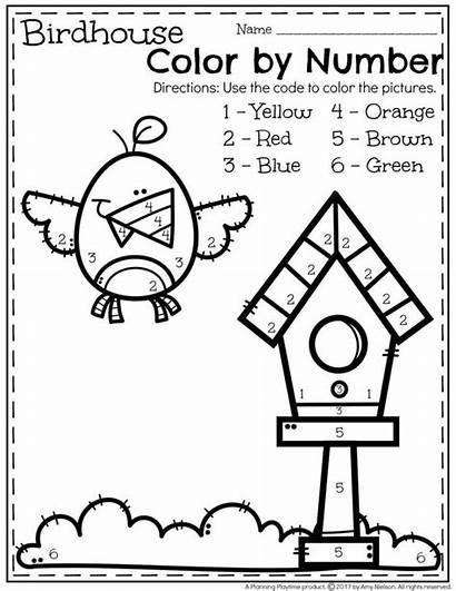 Worksheets Preschool Number Kindergarten Coloring Activities Spring