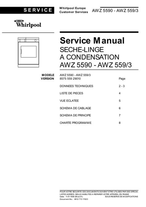 reparation seche linge whirlpool whirlpool awz 559 3 857555929010 manuel de service t 233 l 233 charger pdf s 232 che linge francais