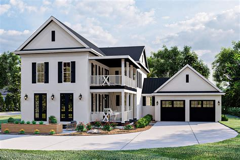 story southern home plan  stacked porches    car garage dj architectural