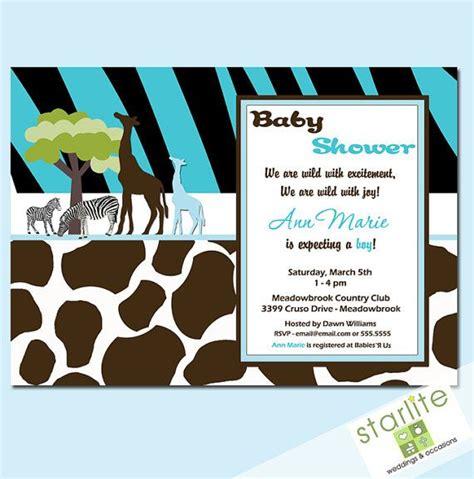 Baby Shower Invitations Wild Safari Blue Baby Boy By