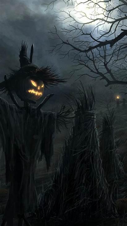 Halloween Iphone Phone Dark Wallpapers Raven Scarecrow