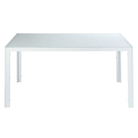 table de jardin en verre tremp 233 et aluminium blanche l 160