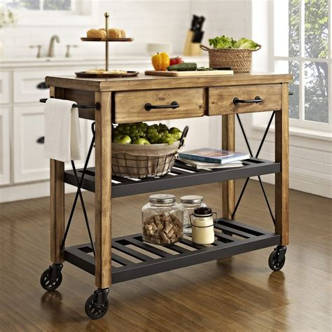 kitchen cart bar table crosley cf3008 na roots rack industrial kitchen cart