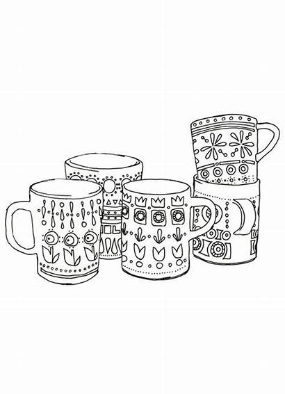 Coloring Pages Coffee Mug Mugs Doodle Cup