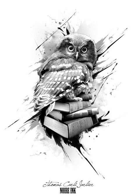 Owl with books tattoo design   Tatuagem coruja, Ideias de