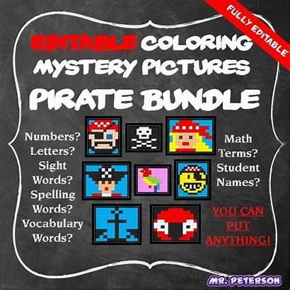Mystery Words Pirate Vocabulary Sight Editable Math