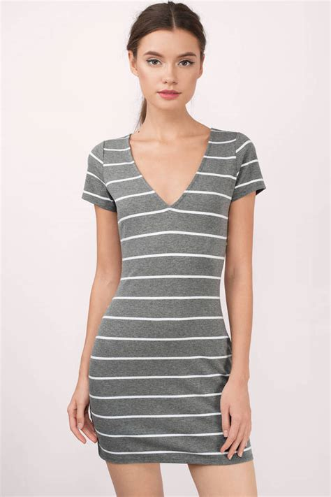 Cute Black And White Bodycon Dress - Deep V Dress - Black Dress - $50.00