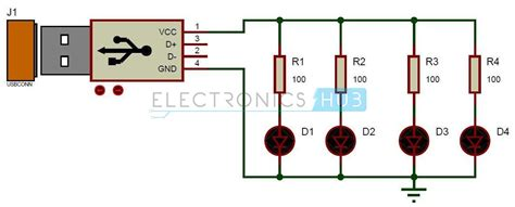Serial Lighting Diagram by Usb Led L Circuit Electronic Projects Electronic
