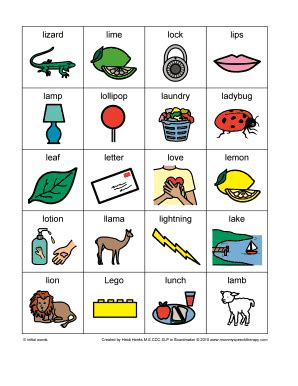 l words for initial g speech therapy fill printable