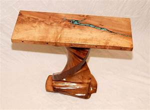 Handmade Mesquite Table With Turquoise Inlay by Mcnitt
