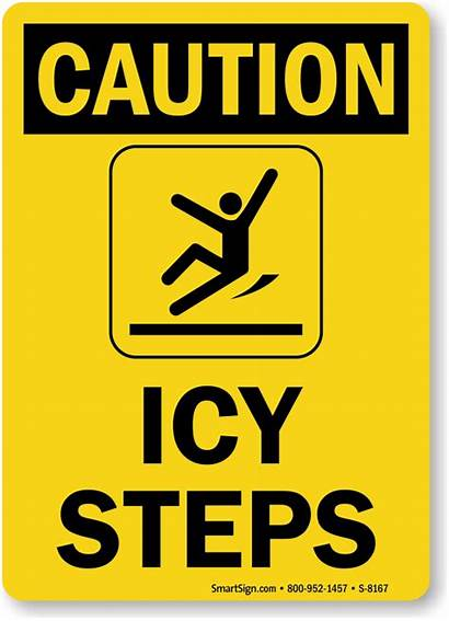 Caution Sign Steps Ice Warning Icy Signs
