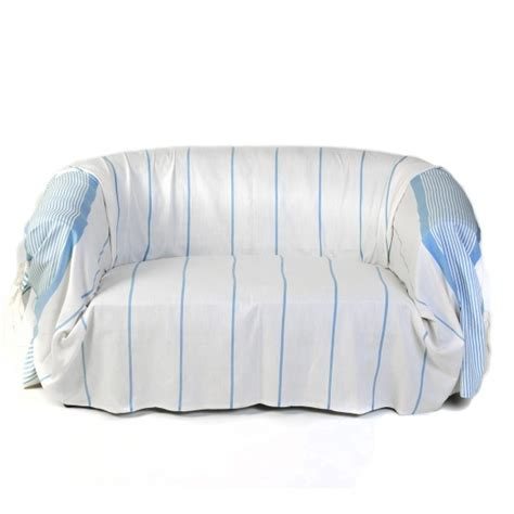 jetés de canapé jeté de canapé en coton dim 2 x 3m blanc et bleu c1