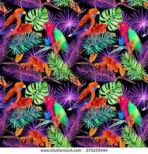 Tropical Leaves Exotic Flowers Neon Glow Stock
