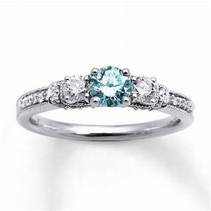 Kay light blue diamonds 7 8 ct tw engagement ring 14k for Light blue wedding ring