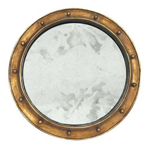 Worlds Away Federal Gold Leaf Round Antique Mirror