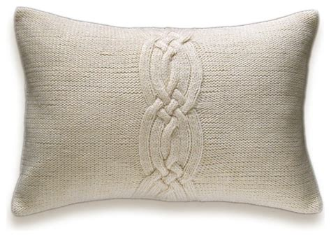 Small Decorative Lumbar Pillows by Decorative Cable Knit Pillow Cover In Ivory 12x18 Inch