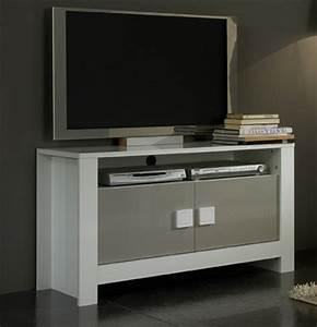 Meuble Tv Pisa Laquee Bicolore Blanc Gris Blancgris