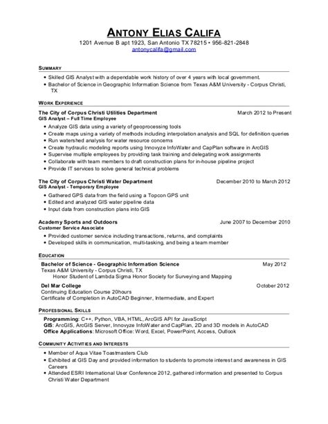 Gis Developer Resume Headline by Antony Califa Gis Resume 2015