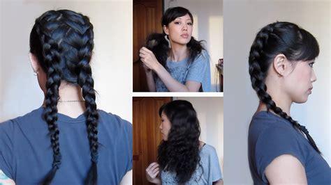 dutch braids  zigzag part heatless waves youtube
