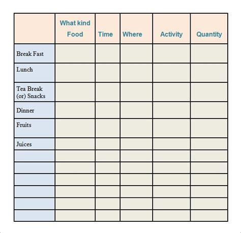 sample printable food log templates
