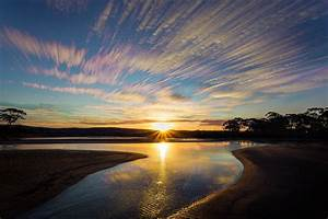 Beach, Sky, Sunset, Sun, Trees, Lake, Clouds, Colour