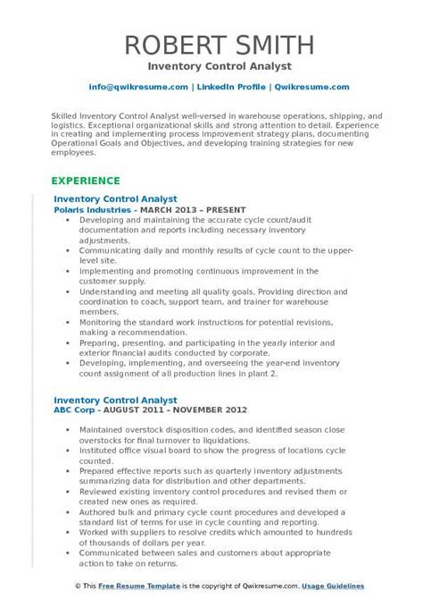 inventory control analyst resume samples qwikresume