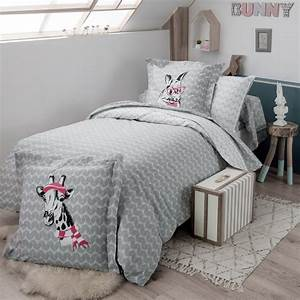 Parure Lit 90x190 : drap housse 90x190 cm 100 coton bunny linnea linge de maison et ~ Teatrodelosmanantiales.com Idées de Décoration
