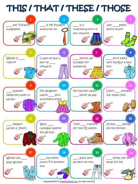 Demonstratives This That These Those Esl Worksheet