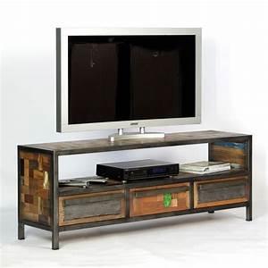Meuble Tv Fer : original meuble tv industriel atelier en m tal et bois recycl ~ Teatrodelosmanantiales.com Idées de Décoration