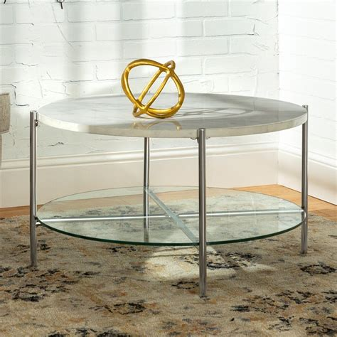Massie modern glam handcrafted marble. 2-Piece Round Coffee Table Set - White Faux Marble and Chrome - GAF32SRDMCR