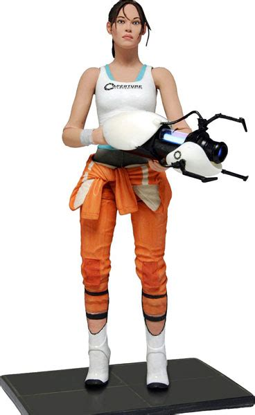 Portal Action Figure Chell With Light Up Ashpd Accessory