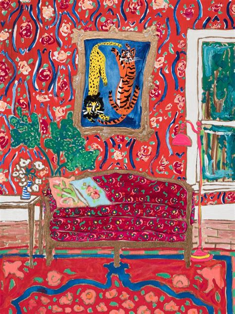 red interior scene  tiger painting  ornate sofa