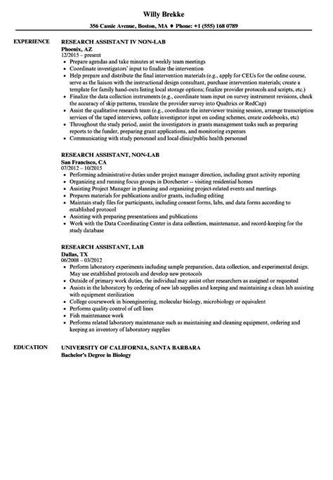 Lab Assistant Resume by Lab Assistant Resume Sle Top 8 Lab Assistant