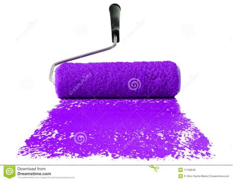 Roller With Purple Paint Stock Photo Image Of Purple