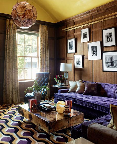 Living Room With Purple Sofa by Alain Honeycomb Rug And Purple Sofa Interiors By Color