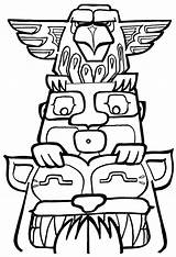 Totem Pole Coloring Pages Poles Drawing Printable Easy Designs Print Clipart Colouring Drawings Native American Outline Owl Template Tiki Animals sketch template