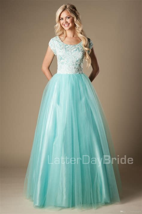 Mint Lace Tulle Modest Prom Dresses With Cap Sleeves A ...