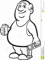 Fat Drawing Cartoon Person Beer Retired Whiteboard Coloring Line Drawings Clipart Pages Vector Sketch sketch template