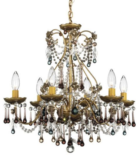 Plum Chandelier by The Heirloom Gold Six Light Antique Plum Vintage