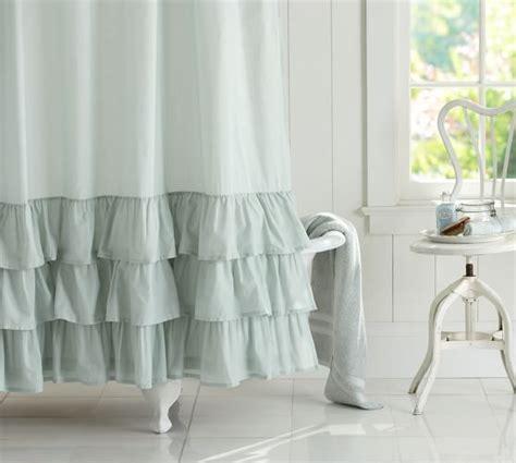white ruffle shower curtain ruffle shower curtain pottery barn