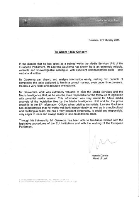 european parliament letter  reference laurens gaukema
