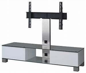 Meuble Avec Support Tv : meuble tv sonorous md8140 c inx wht verre claire blanc ~ Dailycaller-alerts.com Idées de Décoration