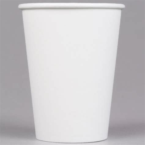 Choice 12 oz. White Poly Paper Hot Cup   1000/Case